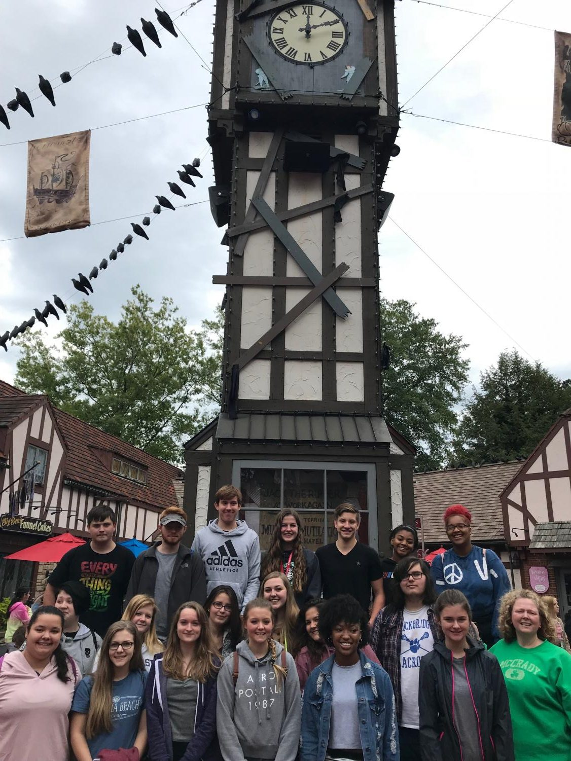 Spanish and French Club members pose outside of the Busch Gardens Tower.