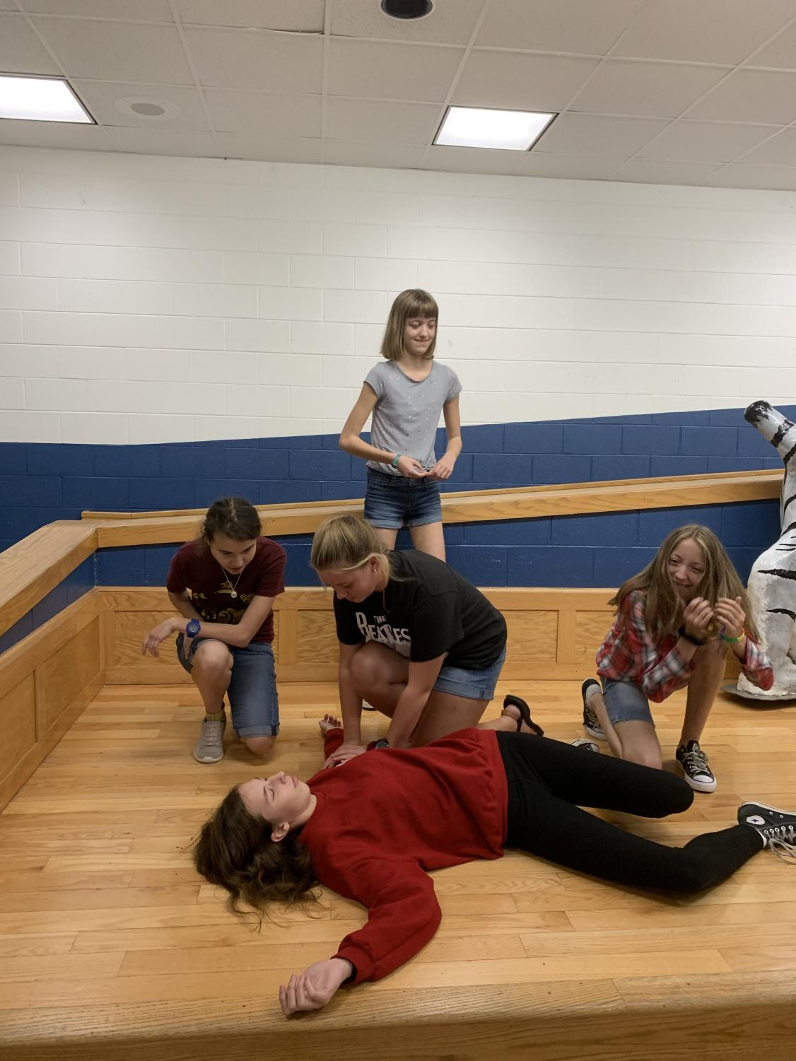 Drama Club performs a skit during practice.