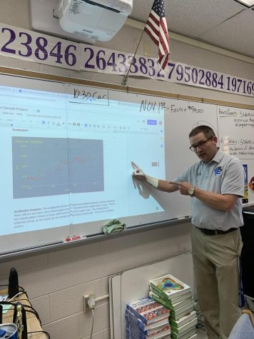 AP Statistics teacher Scott Fleshman shows his students how to create scatterplots for their projects.
