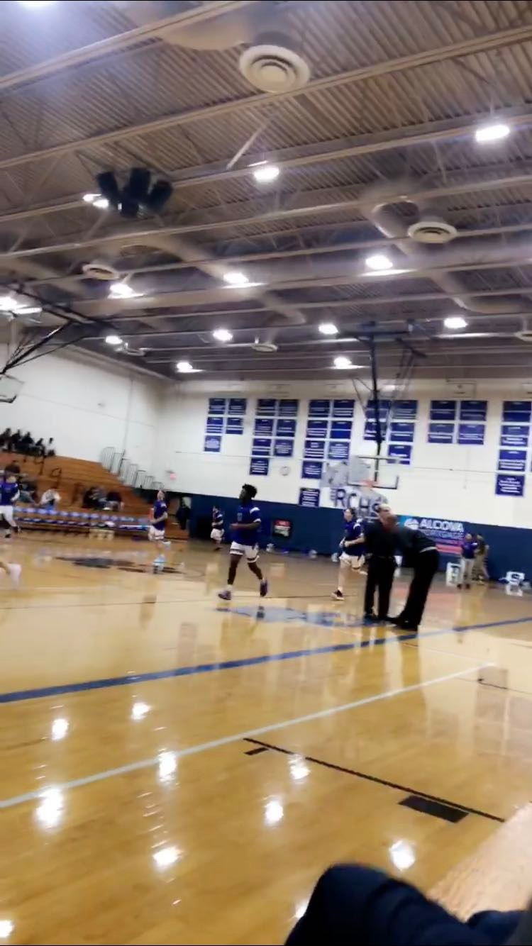 Boys basketball working hard