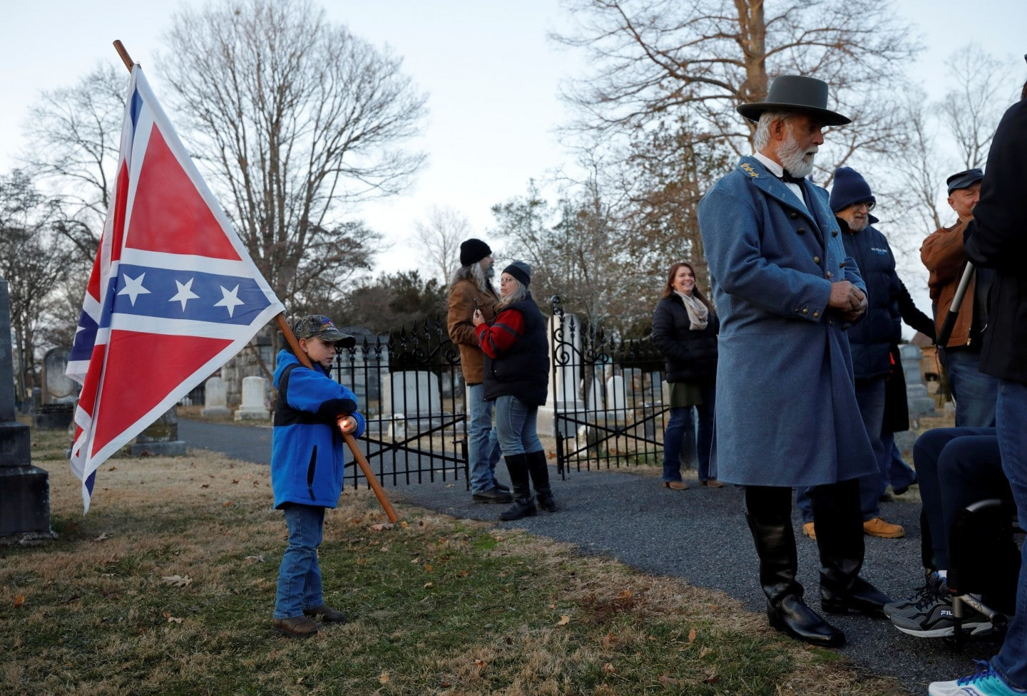 Participants in Lee-Jackson Day celebrations gather in Stonewall Jackson Cemetery on Jan. 17. Photo provided by Jonathan Drake.