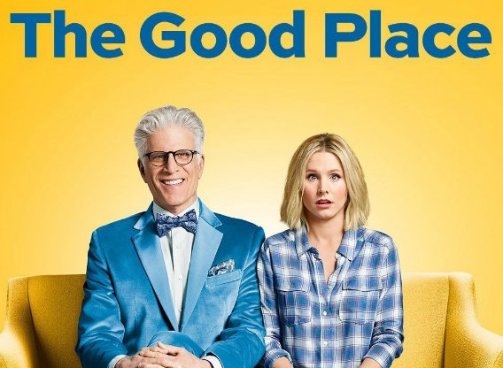 The Good Place promotional photo featuring Ted Danson and Kristen Bell