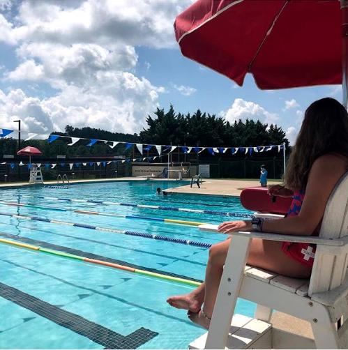 Susanne Mayock-Bradley lifeguarding at the Lexington Municipal Pool