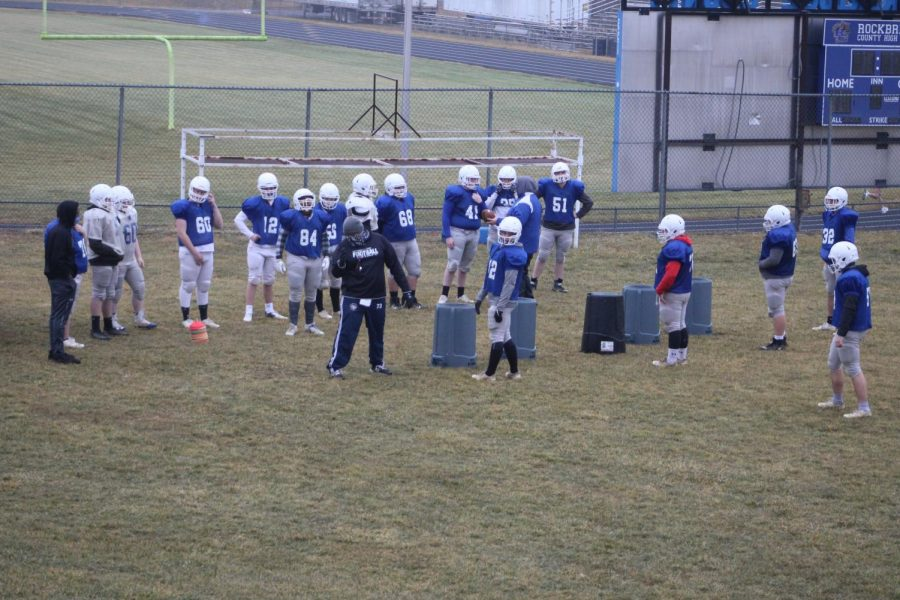 The defense practices and prepares for the upcoming game