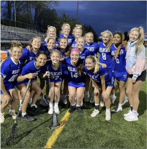 The RCHS Girls Lacrosse team plays a game.