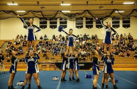 The Competition Cheerleading team competing at districts. PC: @_cat_pack_